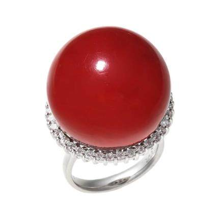 22.0 mm 紅珊瑚 鑽石 鉑金戒指