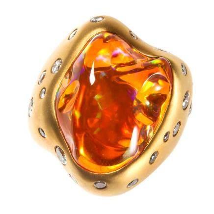 火蛋白石 鑽石 黃金戒指