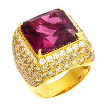 碧璽 鑽石 黃金戒指