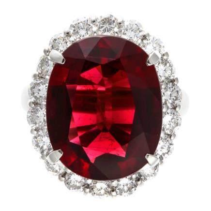 10.31 ct 紅碧璽 鑽石 鉑金戒指