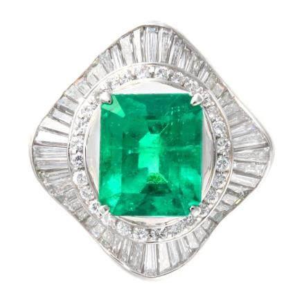 6.008 ct 祖母綠石 鑽石 鉑金戒指