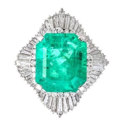 18.67 ct 祖母綠石 鑽石 鉑金戒指