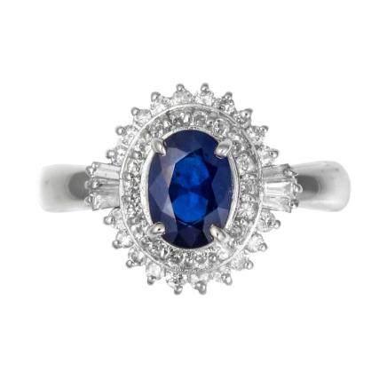 1.12 ct 藍寶石 鑽石 鉑金戒指