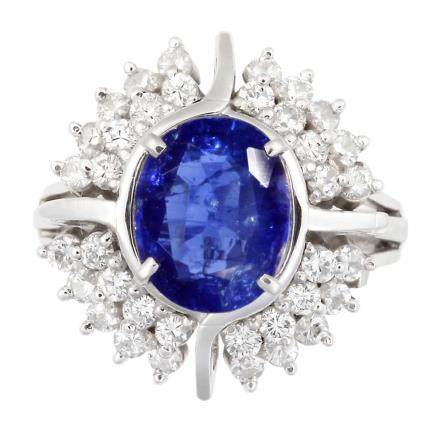 2.75 ct  藍寶石 鑽石 鉑金戒指