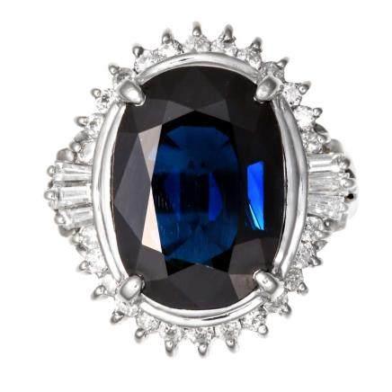 8.33 ct 藍寶石 鑽石 鉑金戒指
