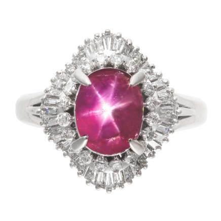 4.34 ct 緬甸產 星光紅寶石 鑽石 鉑金戒指 (非加熱)