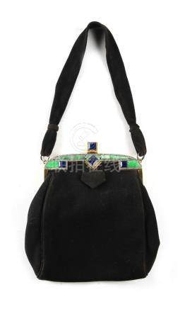 A good 18ct yellow gold jadeite lapis lazuli & diamond mounted black velvet evening bag, with