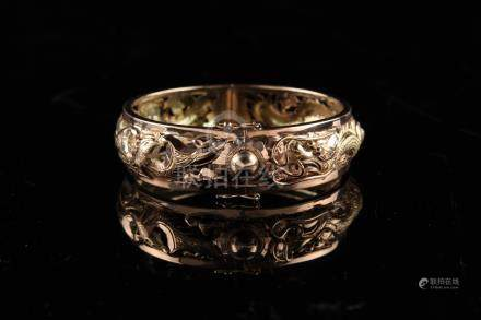 A Chinese 14ct rose gold hinged dragon & phoenix bracelet, approximately 25.6 grams (see