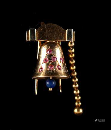 A novelty 18ct yellow gold ruby & lapis lazuli brooch modelled as a bell, by J. Lacloche, Lacloche
