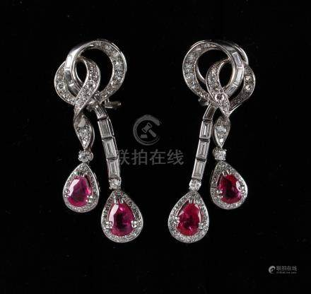 A fine pair of unheated Burmese ruby & diamond tasselled ribbon earrings, each with two pear