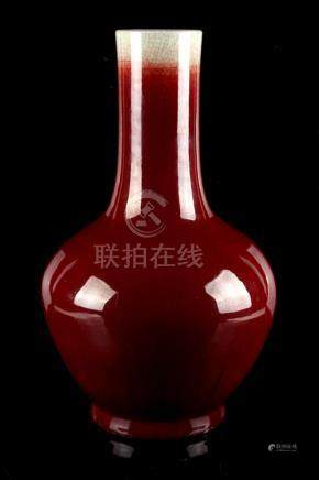 Property of a gentleman - a large Chinese flambe glazed bottle vase, 18th / 19th century, 17.