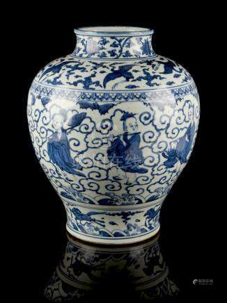 A large Chinese blue & white baluster vase, painted with the Eight Immortals between bands of cranes