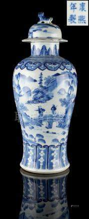 Property of a lady - a Chinese blue & white baluster vase & cover, 19th century, painted with a