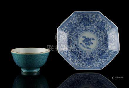 Property of a lady - a Chinese robin's egg glazed tea bowl, 19th century, 2.5ins. (6.4cms.)