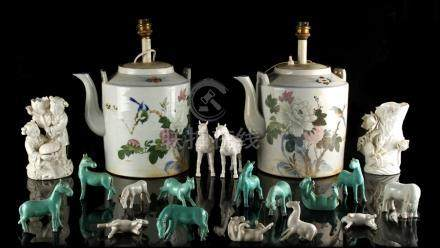 Property of a gentleman - a pair of large Chinese porcelain teapots, 20th century, adapted as