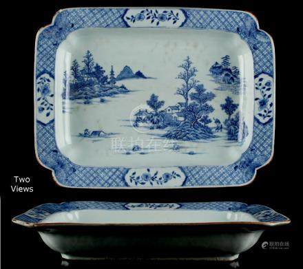 Property of a lady - a Chinese blue & white exportware rectangular shallow vegetable dish with re-