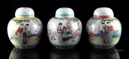 Property of a gentleman - three Chinese famille rose ovoid ginger jars & covers, early / mid 20th