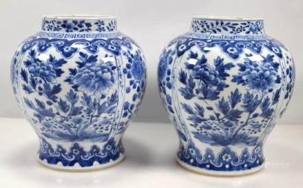 Pr Chinese Qing B & W Porcelain Baluster Jars