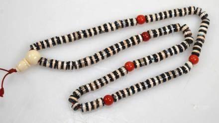 108 Bead Tibetan Dzi Bead Rosary; 81G