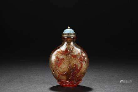 RED-OVERLAY GLASS SNUFF BOTTLE W/TURQUOISE STOPPER