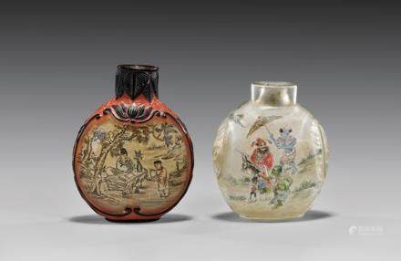 TWO INSIDE PAINTED GLASS SNUFF BOTTLES 玻璃內畫人物紋鼻煙壺 兩件