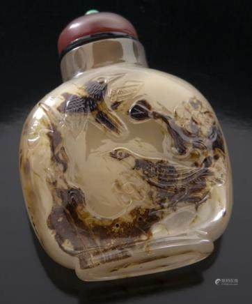 CHINESE QING CAMEO CHALCEDONY/AGATE SNUFF BOTTLE 清 玉髓玛瑙鼻烟壶