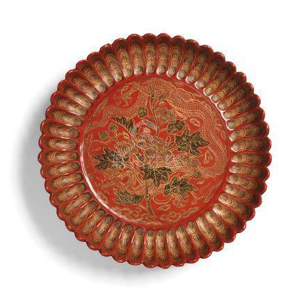 AN EXTREMELY RARE IMPERIAL QIANGJIN AND TIANQI 'DRAGON' CHRYSANTHEMUM-SHAPED DISH