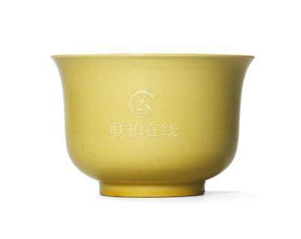 A FINE AND EXTREMELY RARE YELLOW-ENAMELLED BOWL