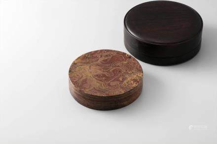 红丝圆砚(红木盒)