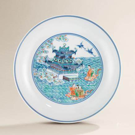 A FINE AND RARE DOUCAI 'DAOIST IMMORTALS' DISH