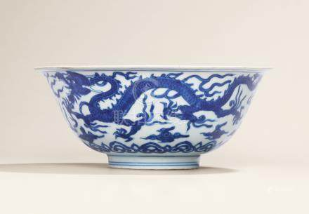 A VERY RARE BLUE AND WHITE 'DRAGON AND PHOENIX' BOWL