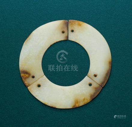 A WHITE JADE 'TRIPLE HUANG' BI DISC