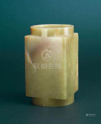 A GREENISH-YELLOW JADE CONG