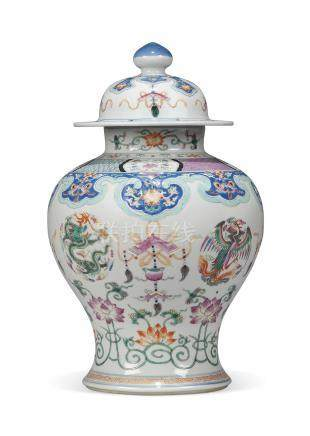 A CHINESE FAMILLE ROSE BALUSTER JAR AND COVER
