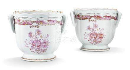 A PAIR OF CHINESE FAMILLE ROSE WINE COOLERS
