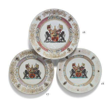A LARGE CHINESE FAMILLE ROSE ARMORIAL DISH FOR THE BELGIAN MARKET