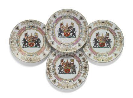 A SET OF FOUR CHINESE FAMILLE ROSE ARMORIAL PLATES FOR THE BELGIAN MARKET