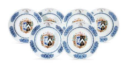 A SET OF SIX CHINESE ARMORIAL PLATES FOR THE SCOTTISH MARKET