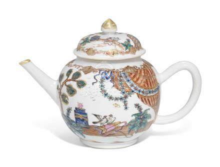 A RARE CHINESE FAMILLE ROSE 'VALENTINE-PATTERN' TEAPOT AND COVER