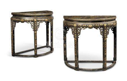 A PAIR OF CHINESE-EXPORT GILT LACQUER DECORATED DEMI-LUNE CONSOLE TABLES