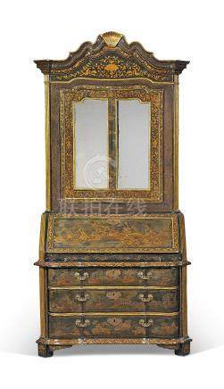 A CHINESE EXPORT PARCEL-GILT AND BLACK LACQUERED BUREAU-CABINET
