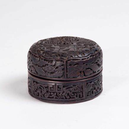 19th 紫檀雕故事纹小圆盒