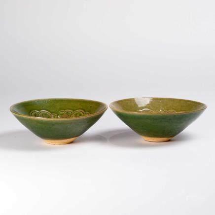 宋 绿釉划花笠式碗