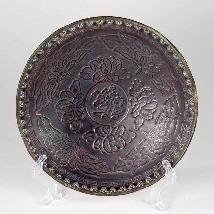 宋 定窑嵌铜花卉纹盘