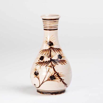 19th 吉州窑褐彩花鸟纹瓶