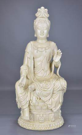 A CHINESE BLANC DE CHINE MODEL OF GUANYIN