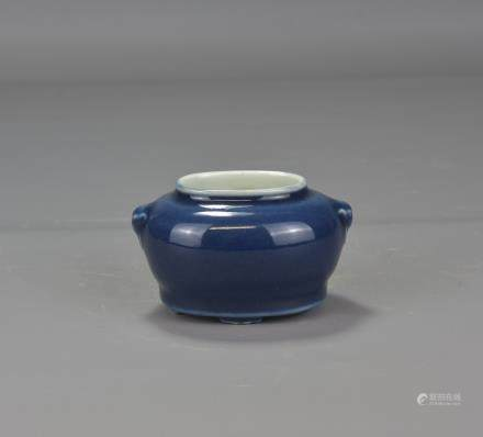 BLUE GLAZED CHINESE PORCELAIN BRUSH WASHER