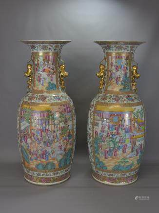 LARGE PAIR 19TH CENTURY CANTONESE VASES