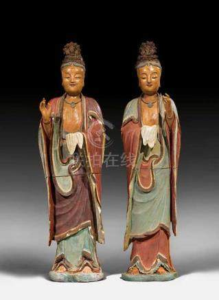 A PAIR OF LIFE-SIZED TEMPLE ATTENDANTS