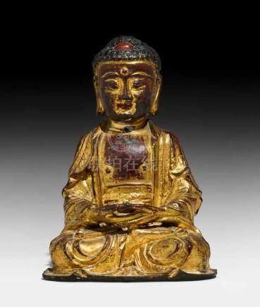 A BRONZE FIGURE OF THE MEDITATING BUDDHA